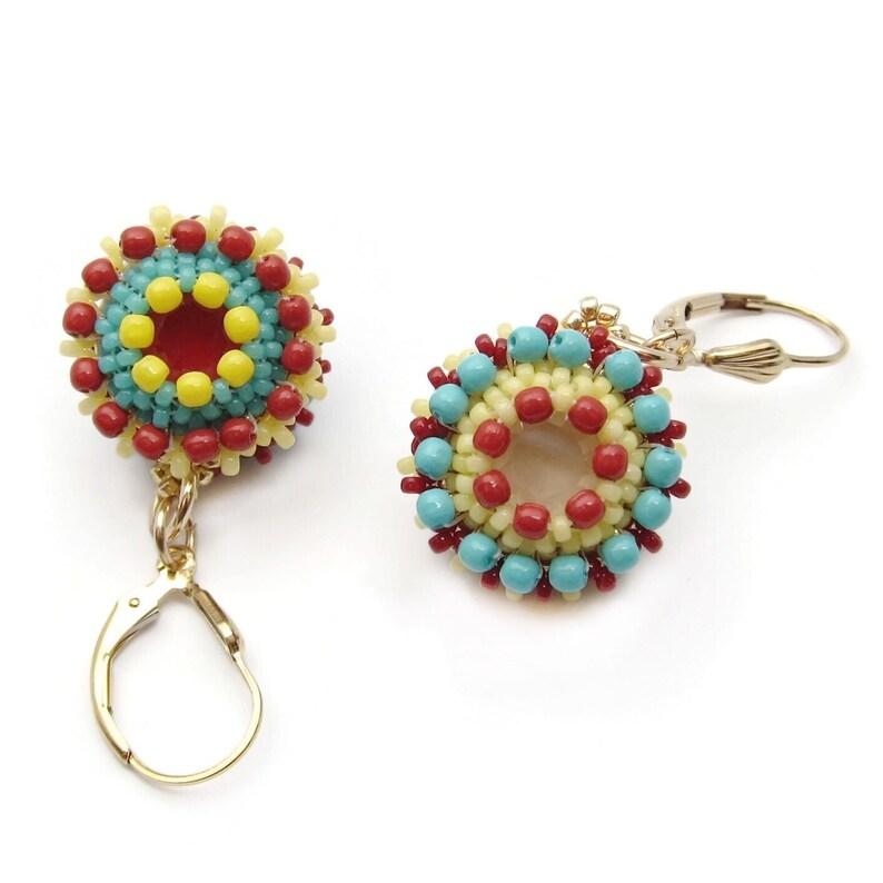 Bead earrings  Swarovski crystal earrings  gold earrings  image 0