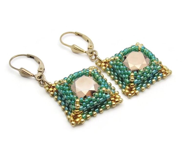 Christmas gift  Swarovski crystal earrings green earrings  image 0