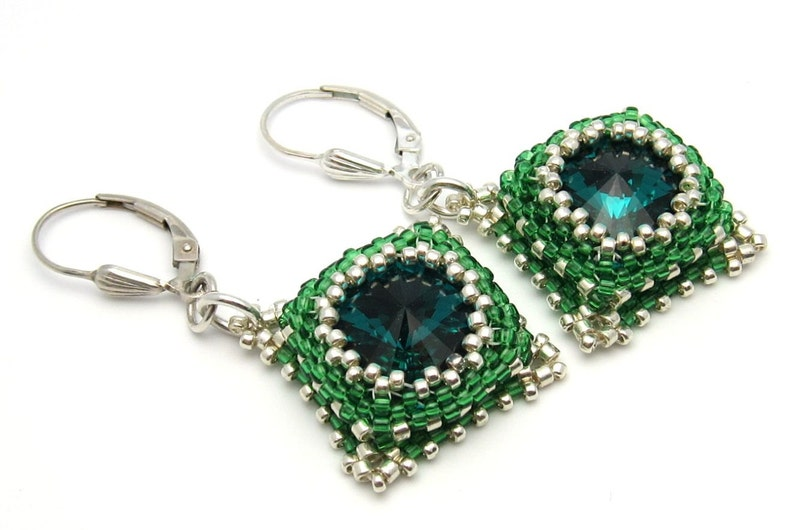 Emerald earrings  green earrings  emerald crystal earrings  image 0