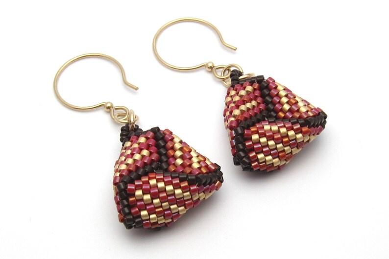 Seed bead earrings  red earrings  peyote stitch earrings  image 0