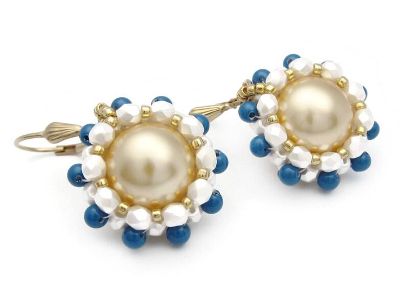 Gold earrings  Swarovski gold pearl earrings  gold pearl image 0