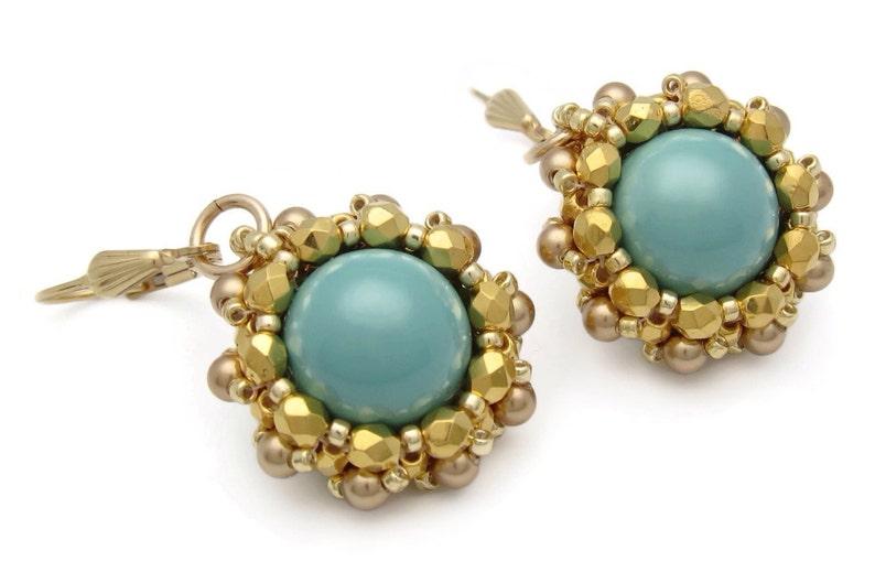 Jade earrings  Swarovski pearl earrings  green earrings  image 0