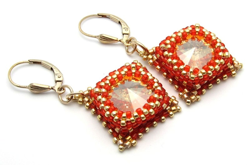 Crystal earrings  red earrings  gold earrings  Swarovski image 0