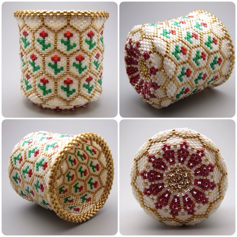 Rose pattern  beaded basket  collectible basket  bead art  image 0