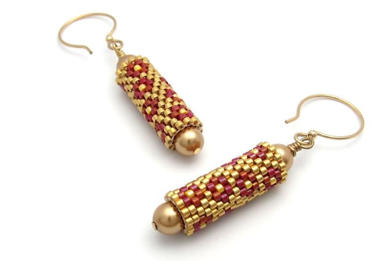 Gold bead earrings  beaded earrings  beaded bead earrings  image 0