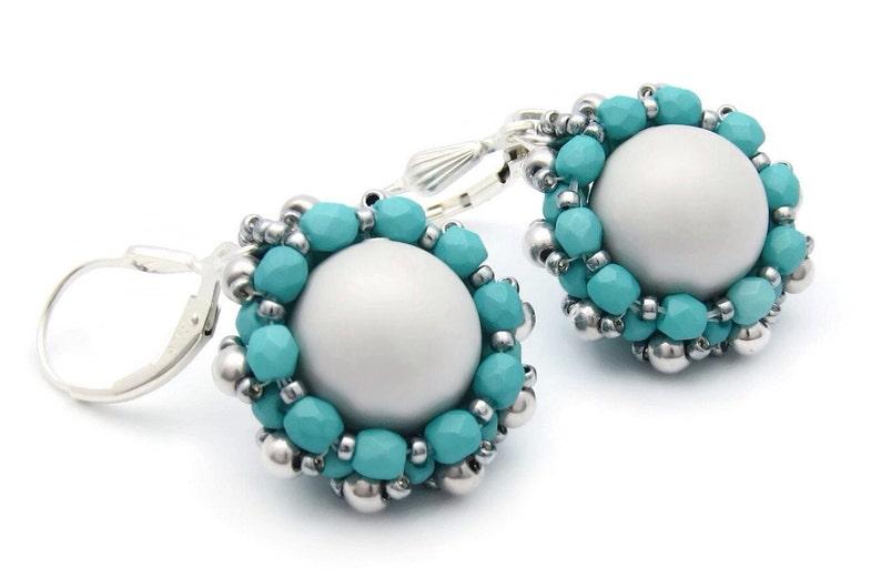 Swarovski pearl earrings  beaded pearl earrings  gray pearl image 0