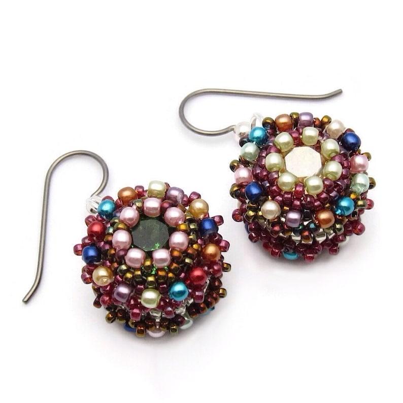 Crystal earrings  seed bead earrings  mismatched earrings  image 0