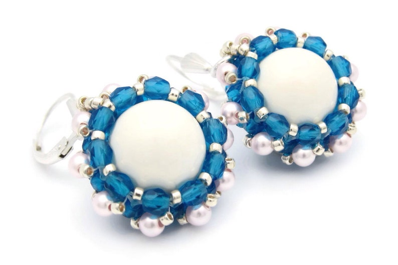 White pearl earrings  blue earrings  blue and white earrings image 0