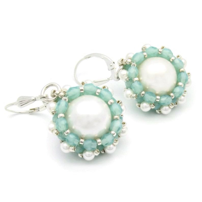 Beaded pearl wedding earrings  mint green earrings  image 0