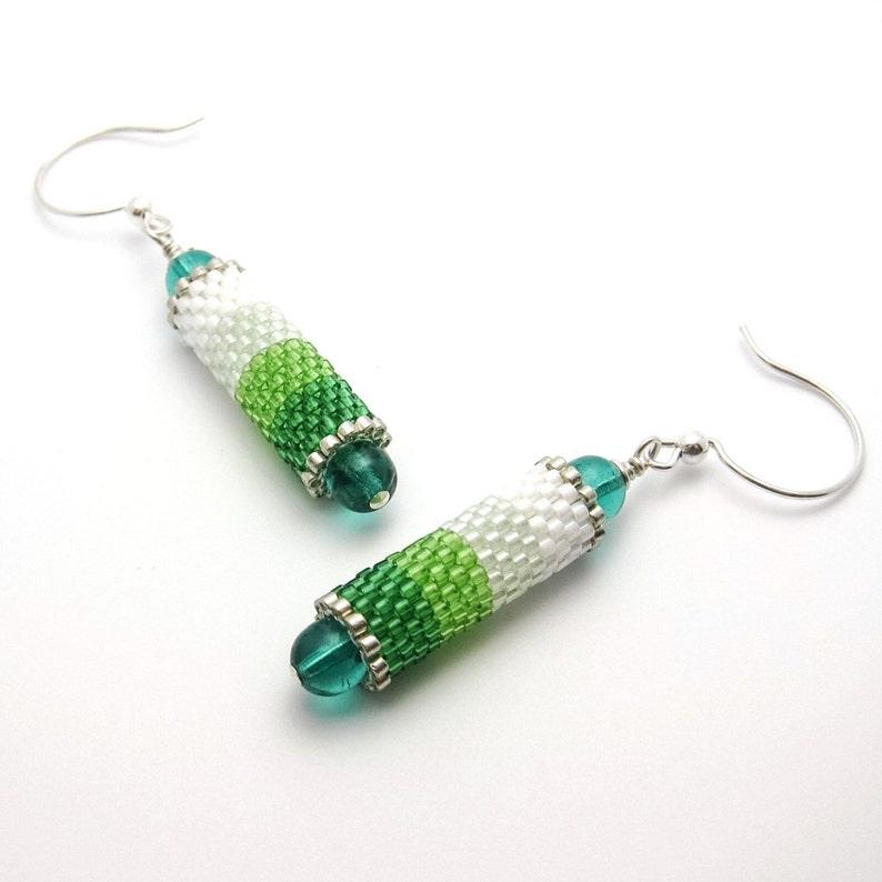 Green ombre earrings  beaded earrings  cylinder earrings  image 0