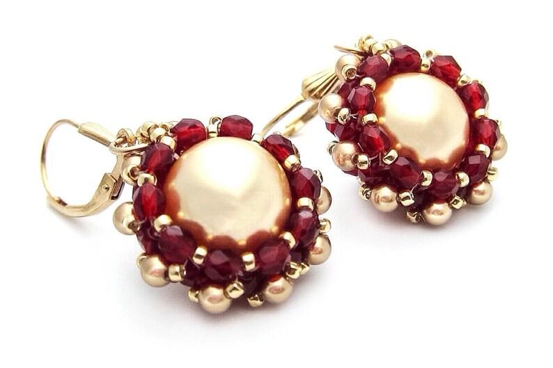 Gold earrings  Swarovski pearl earrings  red beaded earrings image 0