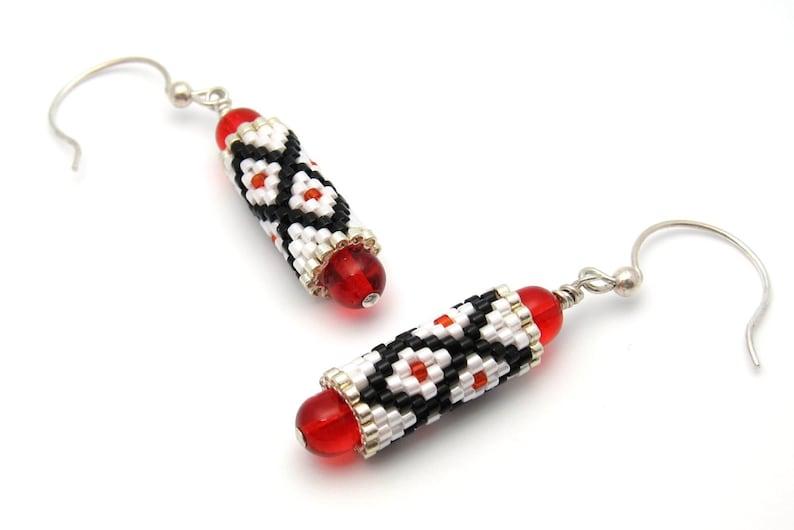 Red bead earrings  beaded earrings  beaded bead earrings  image 0