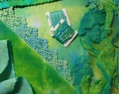Hand Dyed Crazy Quilt Block Kit Green