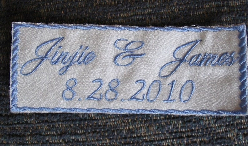 Something Blue  Bride Wedding Label   Custom Embroidered image 0