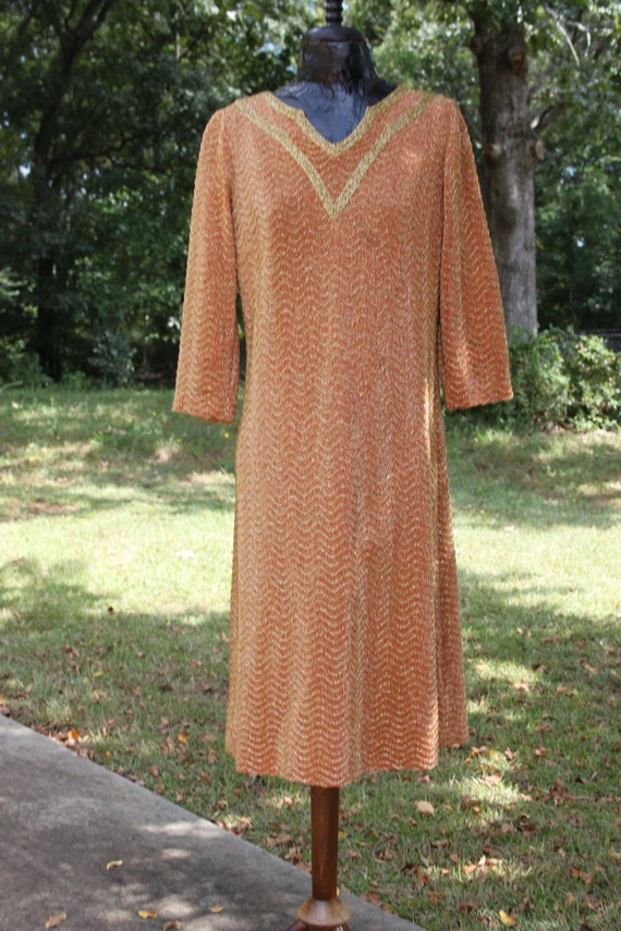 VTG 60's Gold Lurex Orange Knit Sheath Dress