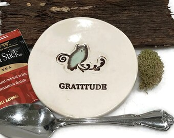 Owl Spoon Rest - Gratitude - Ready to Ship