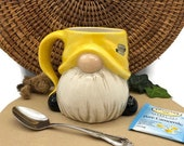 Gnome Mug - Hand Painted in Yellow and Gray