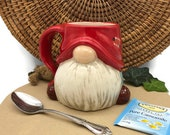 Gnome Mug - Hand Painted in Red and Light Blue