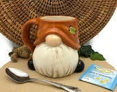 Gnome Mug - Hand Painted in Caramel Brown and Green