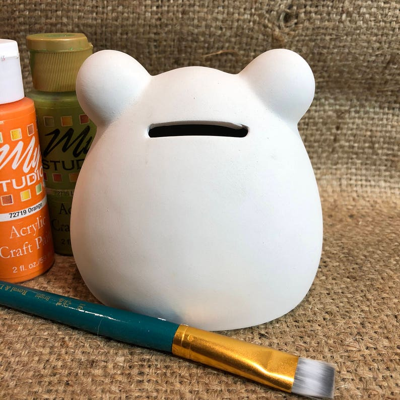 DIY Blank Ceramic Bisque Frog Coin Bank Ready to Paint
