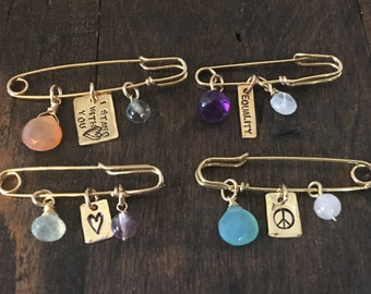 Safety Pin Jewelry, You are Safe With Me, Equality Jewelry, Peace Jewelry, Safety Pin Brooch