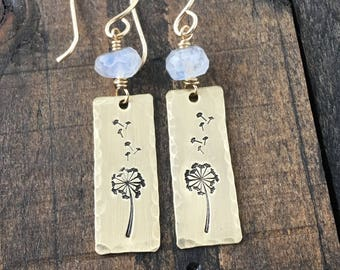 Make a Wish, Gold Dandelion Earrrings with Moonstone on 14k Gold Filled Hand Made Ear Wires