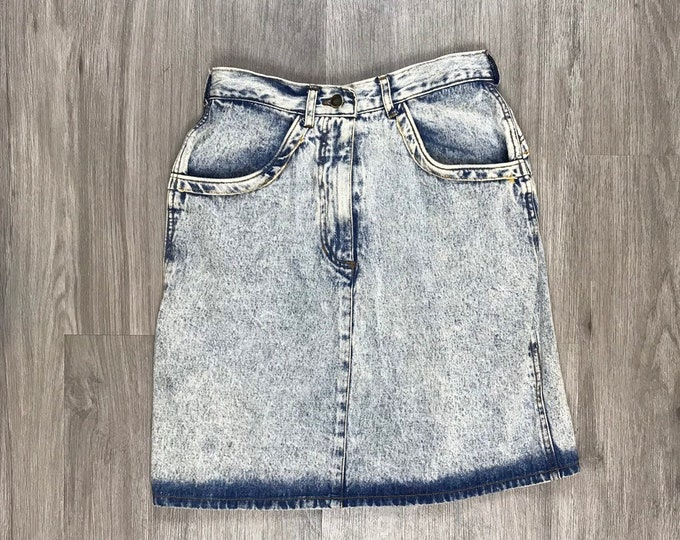 80s Acid Wash Denim Mini Skirt