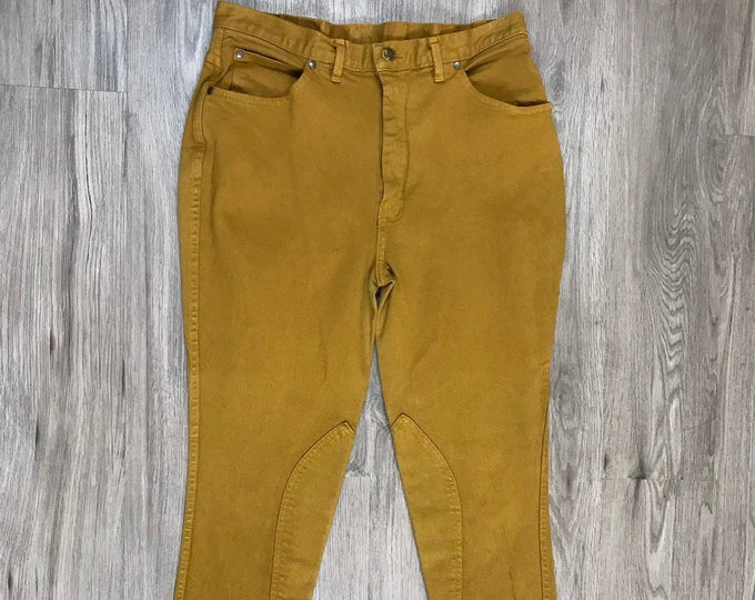 Mustard Raw Hem Riding Jeans