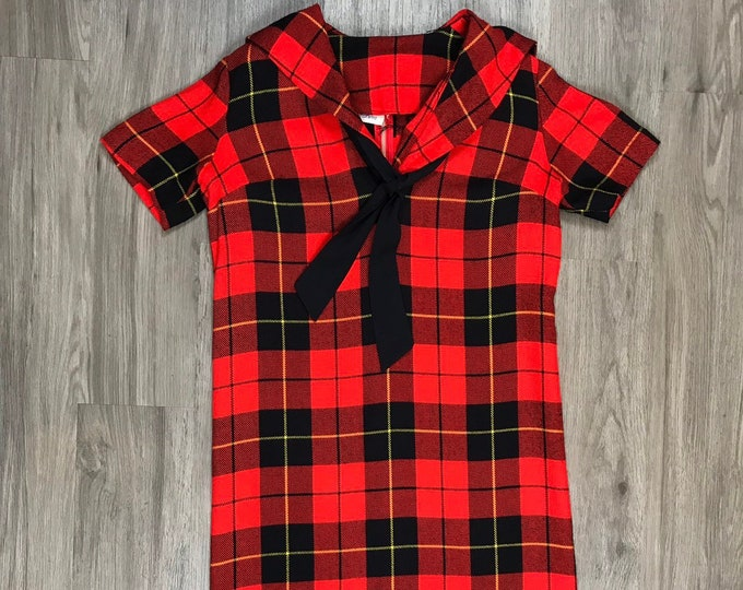 60s Plaid Dress with Bow