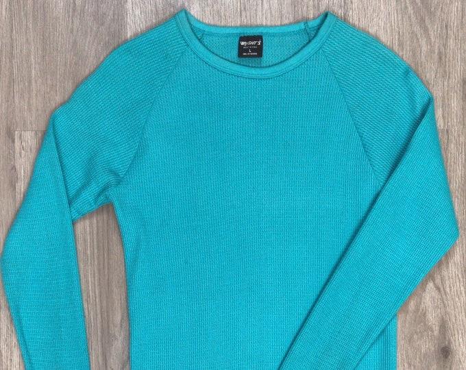 80s Teal Waffle Knit Shirt