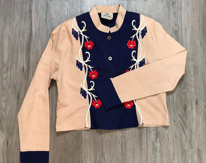 80s Vintage Western Embroidered Top