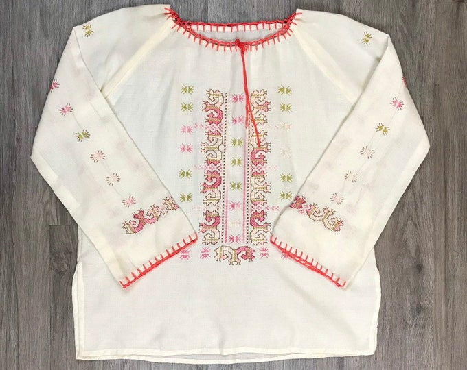 60s Embroidered Peasant Blouse