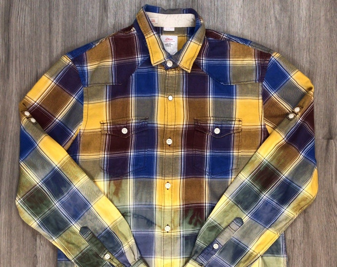 Reworked Dip Dye Plaid Flannel