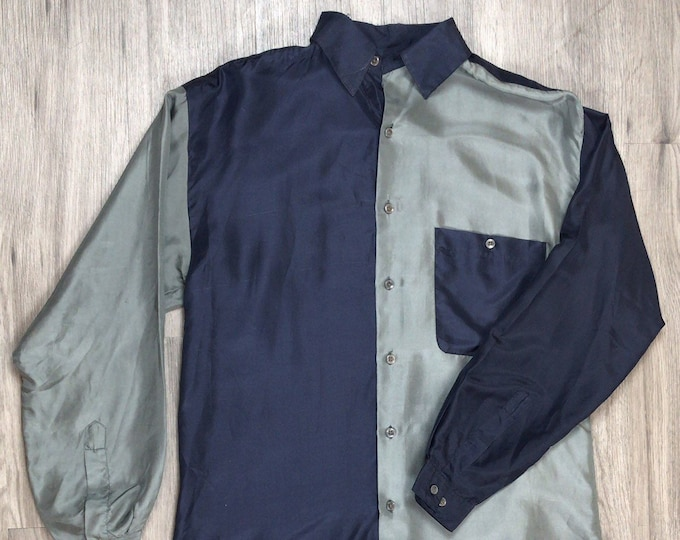 90s Silk Colorblock Shirt