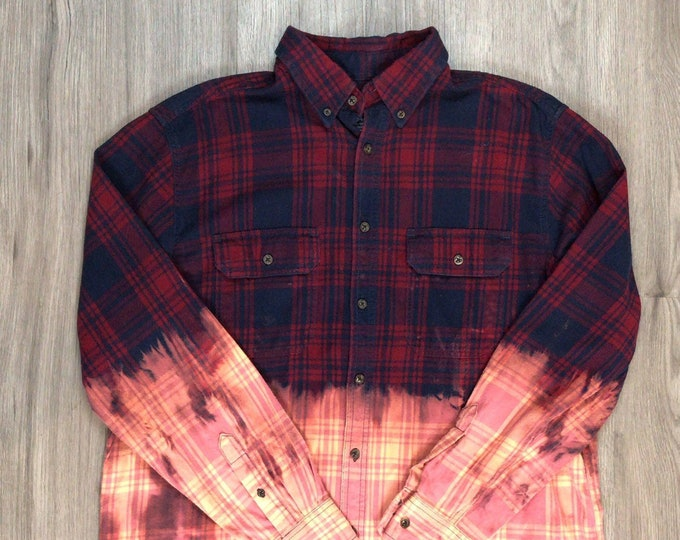 Reworked Dip Dye Tartan Plaid Flannel