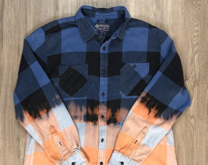 Reworked Dip Dye Large Buffalo Plaid Flannel