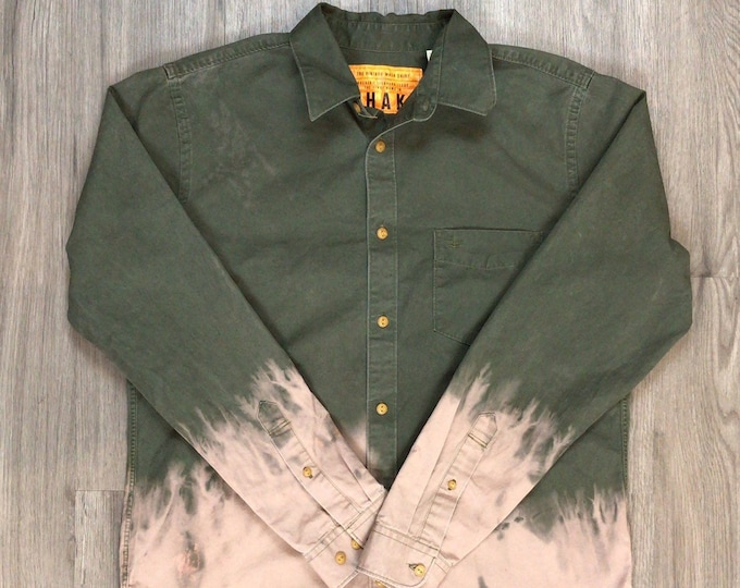 Reworked Dip Dye Button Up Shirt \