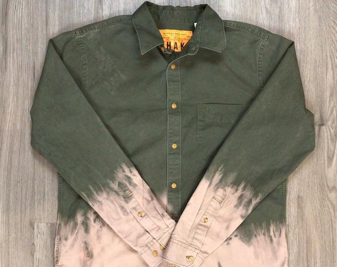 Reworked Dip Dye Button Up Shirt \