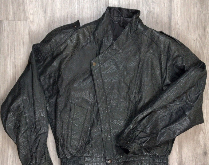 80s Wilson's Snake Skin Leather Jacket