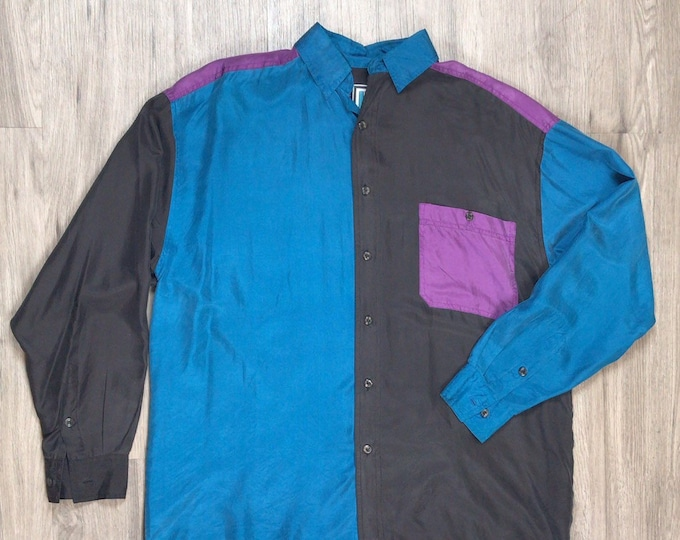 90s Colorblock Silk Shirt