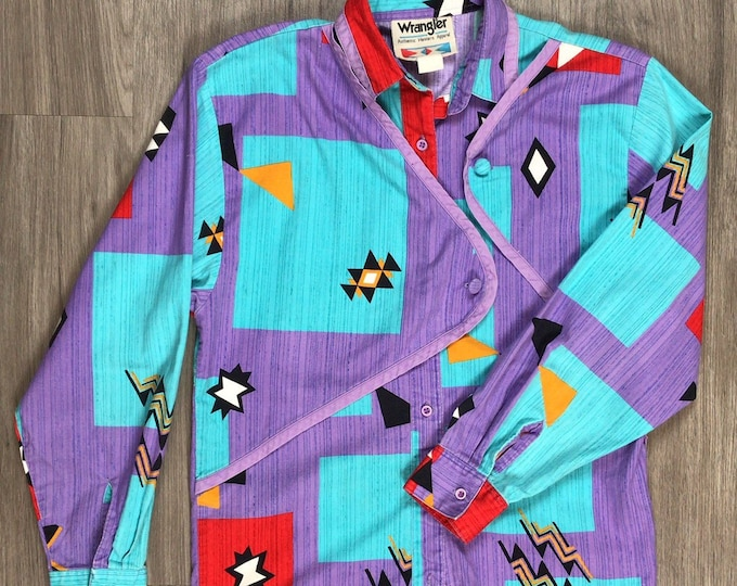 80s Geometric Shapes Western Blouse
