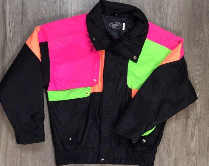 80s Neon Colorblock Ski Jacket