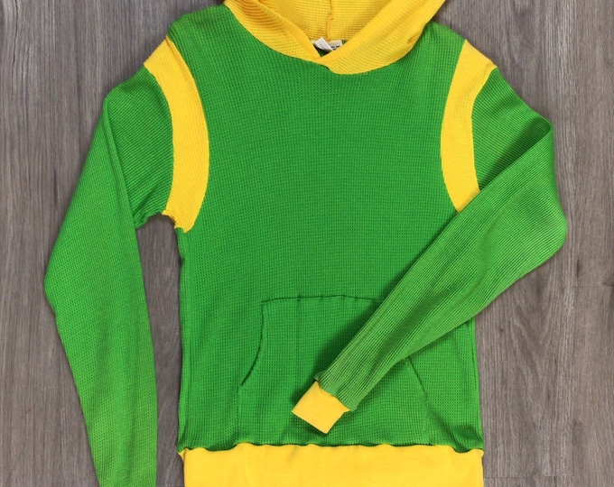 70s Color Contrast Thermal Hoodie