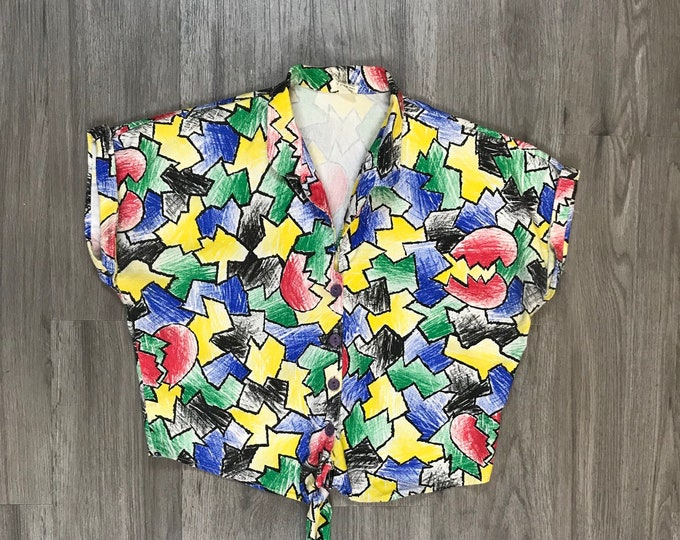 80s Colorful Print Tie Front Top