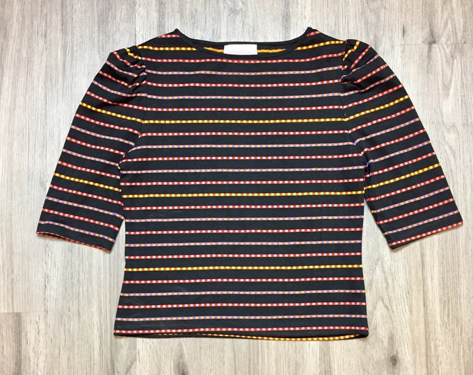 80s  Ruched Sleeve Striped Tee