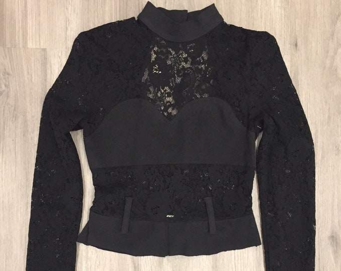 90s Lace Collared Bustier Crop Top