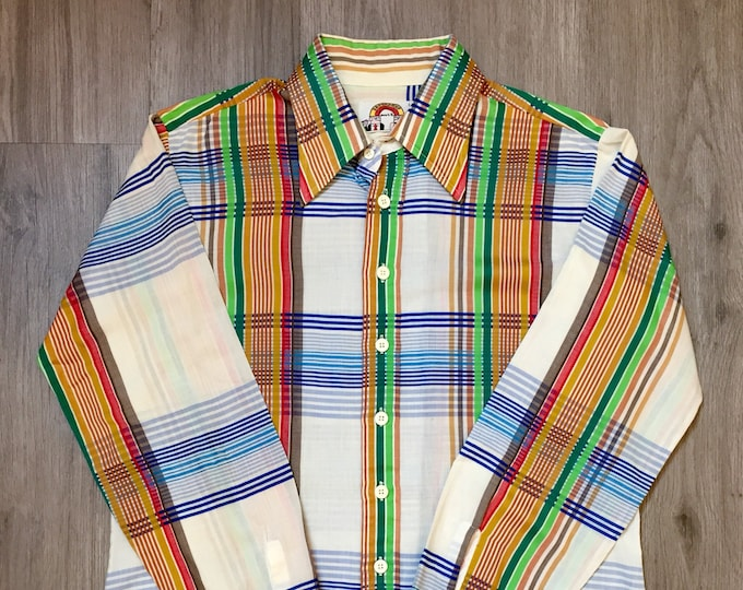 70s Colorful Striped  Button Up Shirt