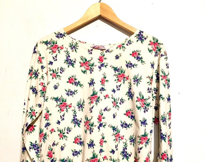 90s Vintage Floral Long Sleeve Tee Shirt