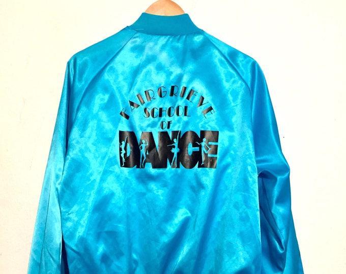 80s Vintage Shiny Blue School of Dance Satin Bomber Jacket