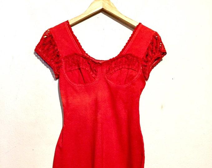90s Burnt Orange Crochet Body-con Dress